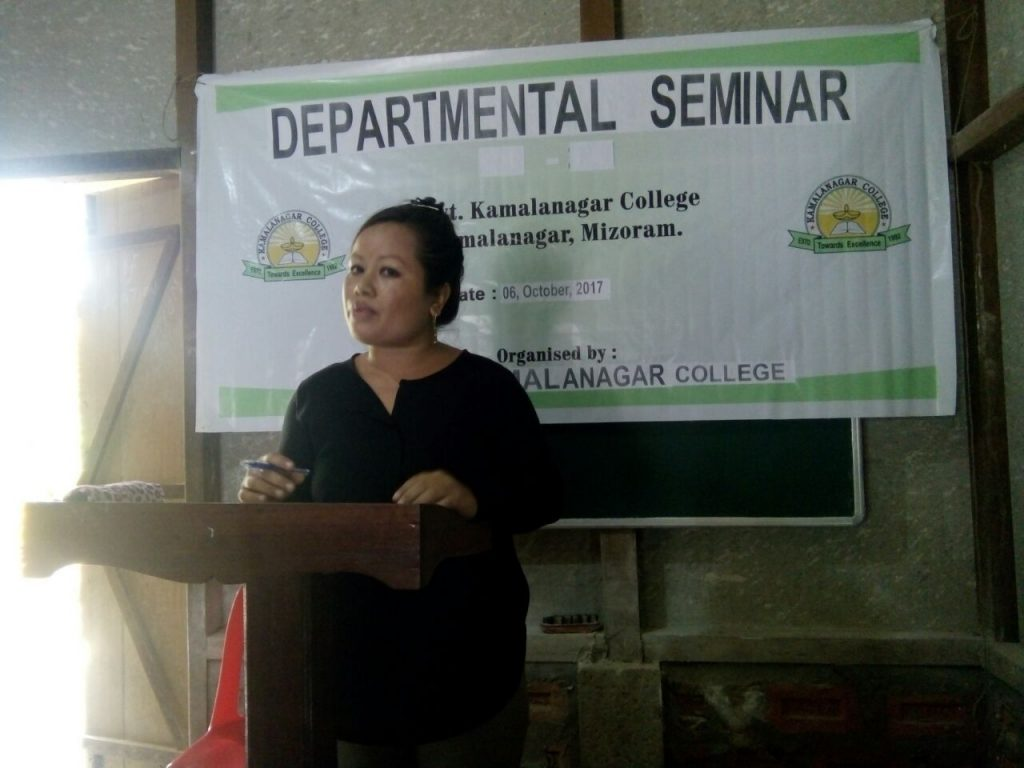 Presentation of paper by Mrs Miriam L. Colney, Asst. Prof. Dept of English on the Departmental Seminar, held on 6th Oct. 2017