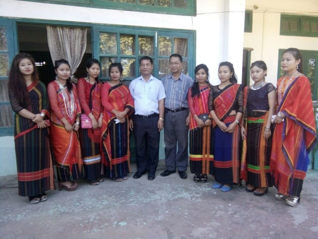 Prof Lalrintluanga and Prof Zamkhawngam Doungel, with GKNC  students in Chakma Traditional dress.